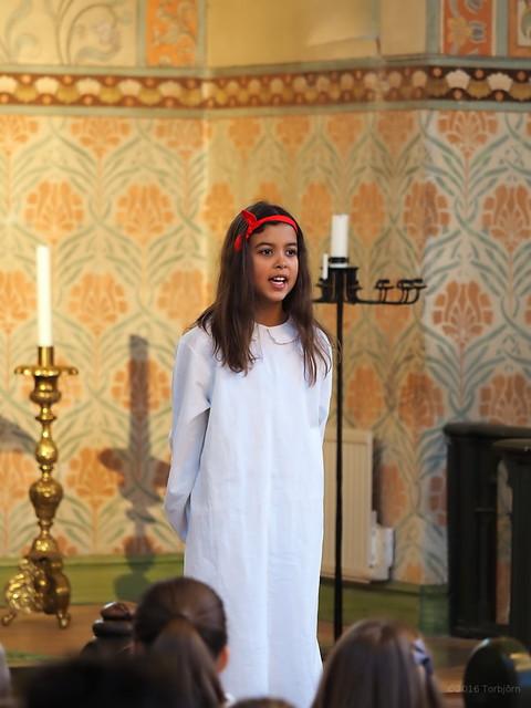 Celina sjöng en sång av Johan Sebastian Bach